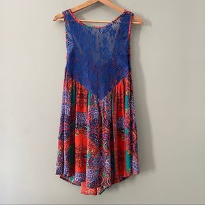 Free People Count Me In Trapeze Mini Dress Small